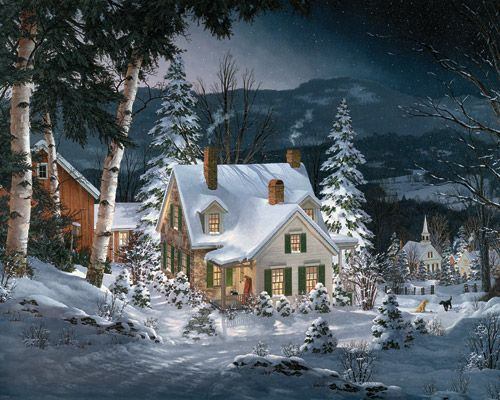 The window glow and smoke rising from the chimney of this quaint New England farmhouse create a feeling of warmth in this wintry scene.Artist: Fred Swan. 1000 piece jigsaw puzzle.