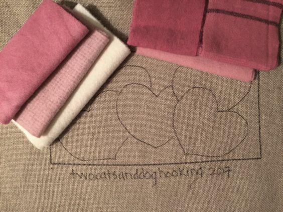 Rug hooking kit  Valentines 5 hearts by twocatsanddoghooking