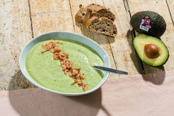 Avocado soup with Dutch shrimps.  #avocado #soup #soep #suppe #shrimps