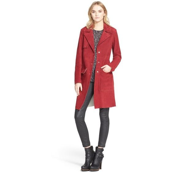 Belstaff 'Jensen' Bonded Suede Coat (£2,235) ❤ liked on Polyvore featuring outerwear, coats, oxblood, white coat, belstaff, suede coat, belstaff coat and suede leather coat