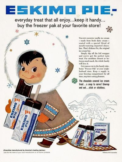 "Blogpost featuring some vintage Ice Cream Ads featuring this 1958 ""Eskimo Pie"" ad!! So cute!!"