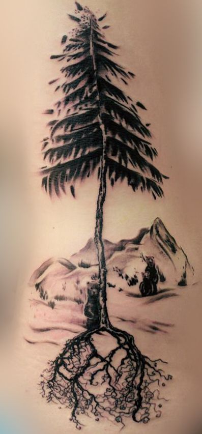 Love this but with wolves and more trees going around for Evergreen tree tattoo