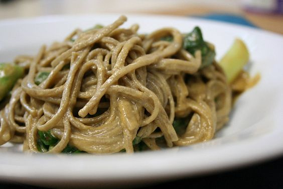 Soba Noodles with Bok Choy and Tahini - I'm making this tonight with the bok choy from my CSA!!!