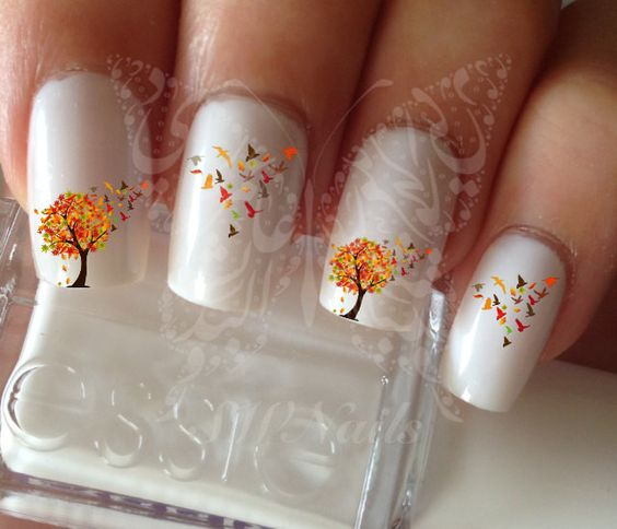 Autumn Tree falling Birds and Leaves Thanksgiving Nail Art Fall Water Decals Transfers Wraps:
