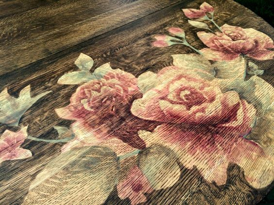 Colorful Wood Stain Artwork on Furniture