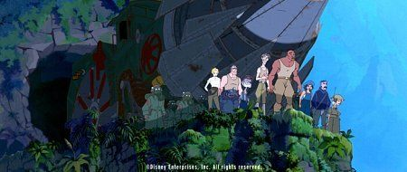 A team of explorers, including (left to right) Helga, Moliere, Commander Rourke, Cookie, Milo Thatch, Dr. Sweet, Audrey, Vinny, and Mrs. Packard, stand on the brink of a startling discovery when they journey through a crevice in the ocean floor to reach a lost civilization.