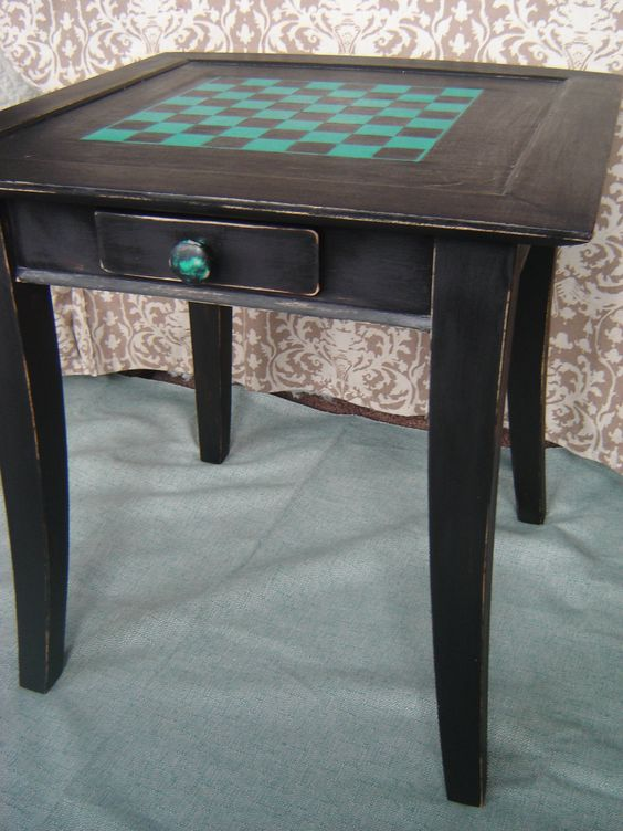 Hand Painted Up Cycled Solid Wood Checkerboard Side Table with Drawer. $145.00, via Etsy.: