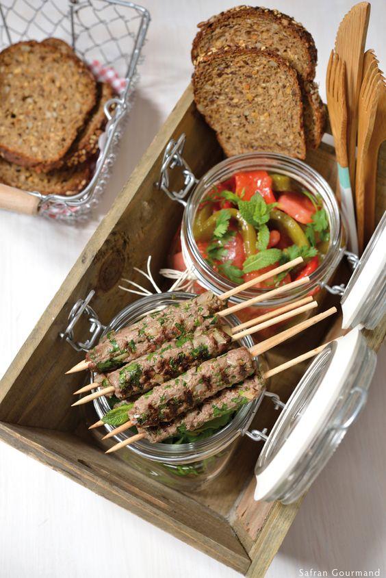 Mini Brochettes de Kefta and Salade Juive