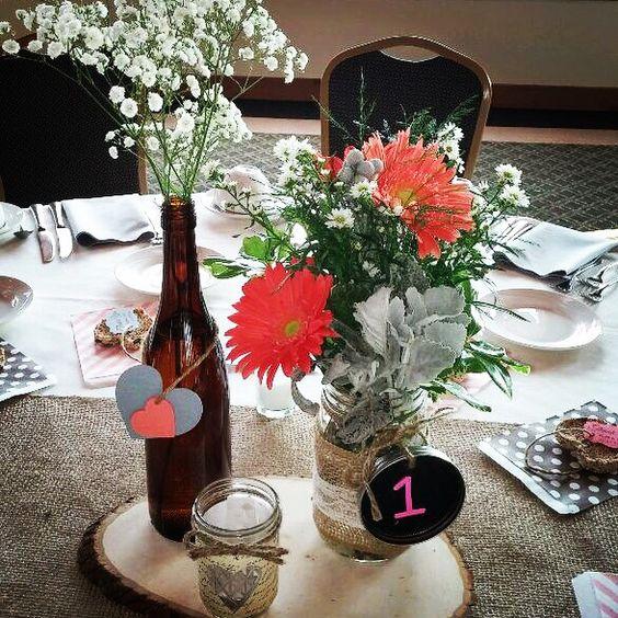 Rustic daisy, Brunia berry, dusty miller centerpiece. Seitz wedding!
