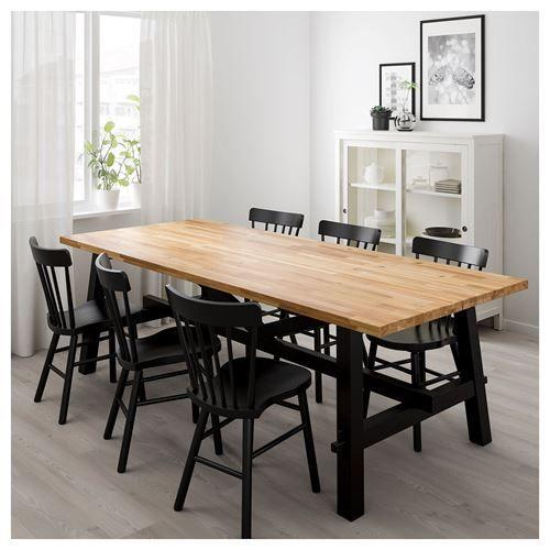 skogsta norraryd yemek masasi ve sandalye seti akasya siyah 235x100 cm ikea yemek odalari ikea sandalye yemek odalari