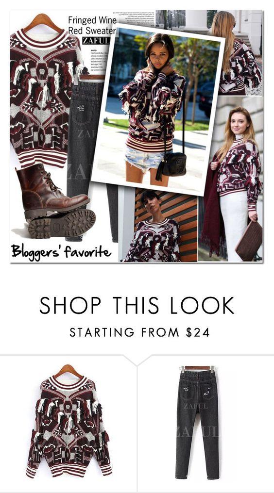 """Blogggers' Favorite: Fringed Sweater"" by vanjazivadinovic ❤ liked on Polyvore featuring fringe, sweaterweather, polyvoreeditorial and zaful"