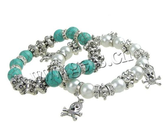 Zinc Alloy Turquoise Bracelets, stretch bracelet, with crystal beads & rhinestone ring, mixed color, nickel & lead free, fashion wholesale bracelet, 2-17mm, Sold per 7.5-Inch Strand