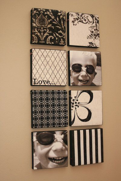 wall art. Love the mix of prints and photos!
