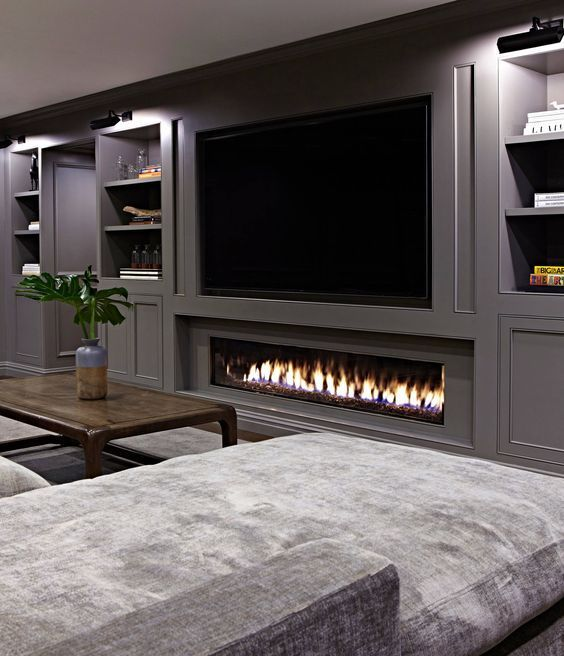 Basement Fireplacebasement Fireplace35 Best Inspiring Basement Remodel Ideas In 2020 Basement Fireplace Basement Design Modern Basement