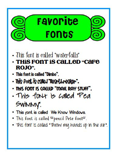 Favorite fonts linky party