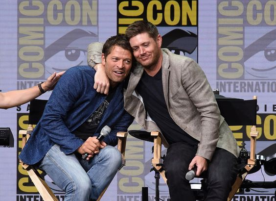 "Misha Collins (L) and Jensen Ackles at the ""Supernatural"" panel during Comic-Con International 2017 at San Diego Convention Center on July 23, 2017 in San Diego, California. - Comic-Con International 2017 - 'Supernatural' Panel"