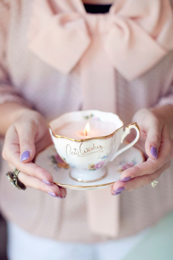 Create your own candle in a vintage teacup! How cute would this be for a shower? or afternoon tea party?: