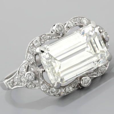 Emerald-cut Diamond Engagement Ring Art Deco Style Platinum
