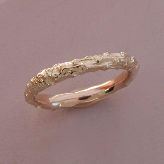 14k Rose Gold Twig Wedding Ring  Narrow Pine Branch by esdesigns