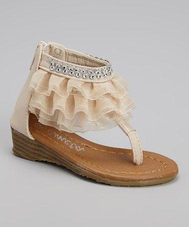 Look at this #zulilyfind! Beige Diamond Ruffle Sandal by Ameta Corporation #zulilyfinds