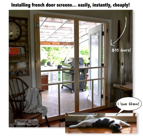 Installing screen doors on french doors easy and cheap for Cheap sliding screen doors