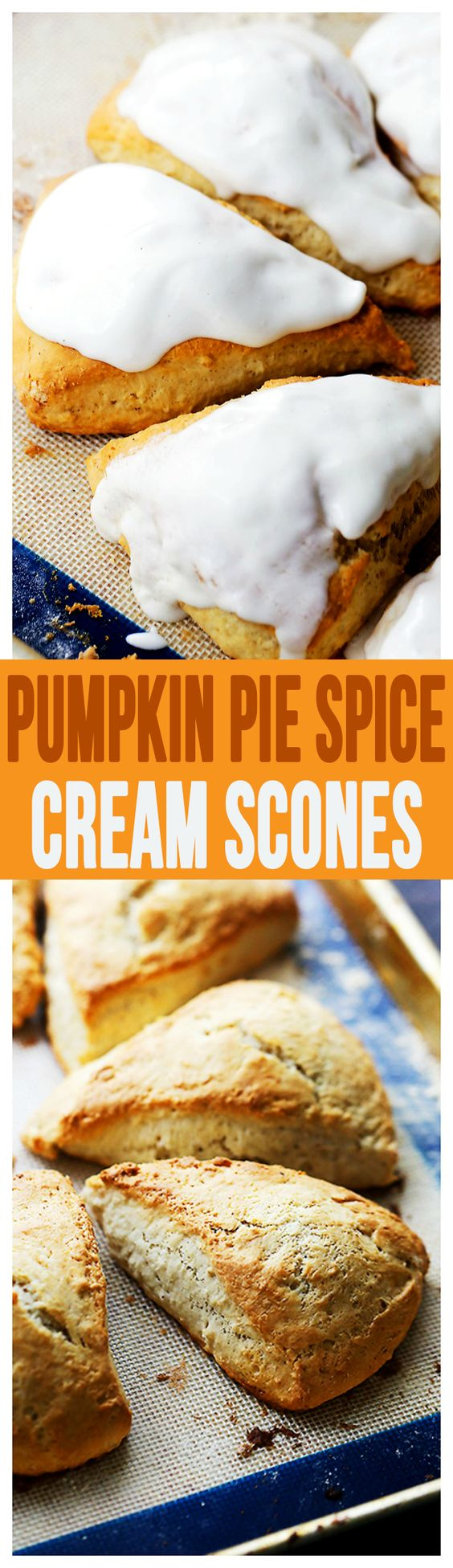 Pumpkin Pie Spice Cream Scones – Plump, rich, yet light and sweet scones flavored with pumpkin pie spice creamer and a simple spiced glaze. @indelight #PumpkinDelight #IDelight