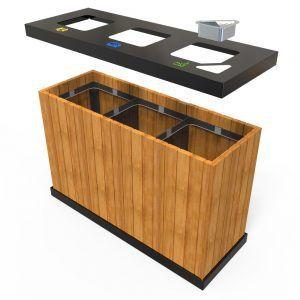Oslo Mw Corbeille Exterieure Pour Tri Selectif 3 Bacs 50 Litres A 100 Litres 4 Recycling Storage Pool Furniture Storage Bins