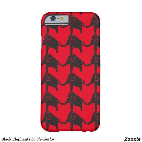 Black Elephants on red background, tiled. Cute smartphone case