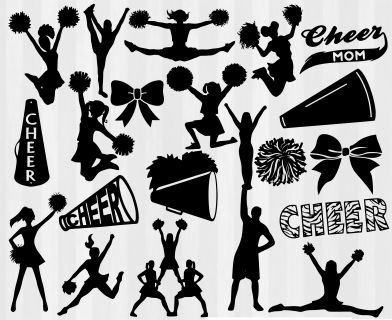 Cheer SVG Bundle for Silhouette Cameo or Cricut Explore. Cheer silhouettes, cheerleading svg, cheerleader svg, cheer cut files. Great for scrapbooking, papercrafting or papercutting too. Cheer clipart, png, svg and dxf. Cheer studio files, cheer cricut download.