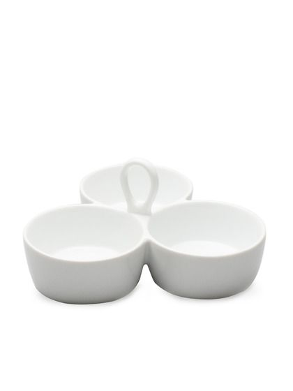 Whiteware Collection 3-Part Rounded Divided Dish