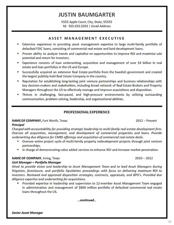 Asset Management Resume Example Asset management, Resume - commercial property manager resume