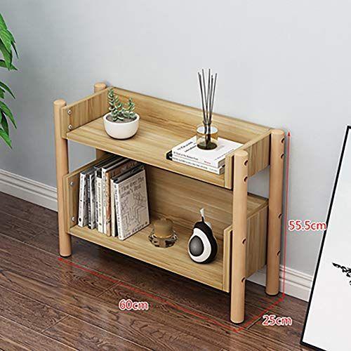 Simple 2 Tier Solid Wood Bookshelf Modern Floor Standing Open Storage Organizer Shelf For Living Room Solid Wood Bookshelf Wood Bookshelves Shelf Organization