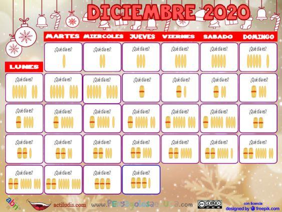 Calendario palillos infantil ABN – Diciembre 2020