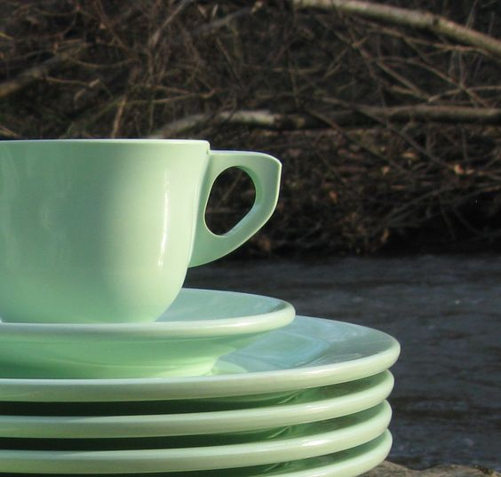 Mint green Tea cups and Dishes on Pinterest