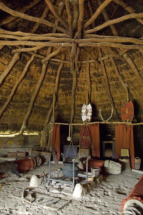 Pembrokeshire. Interior of the re-created Chieftains Hut, an Iron Age Celtic Roundhouse built on the original foundations ,