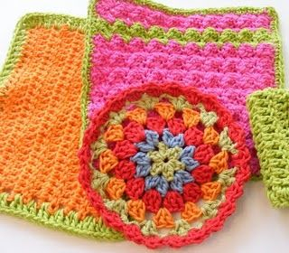 Made up some cool new dishcloths.  Granny circle in front was from pattern I discovered here at Pinterest! #crochet #dishcloth #pinterest