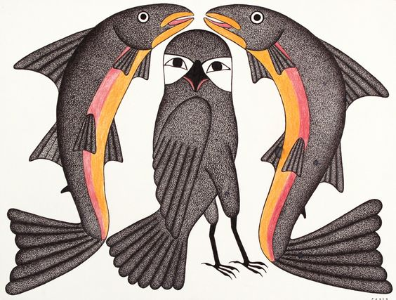 feheley-fine-arts-kenojuak-ashevak-two-fish-and-an-owl