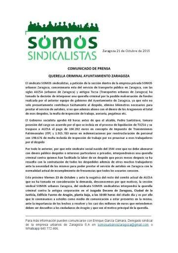 Somos Sindicalistas denuncia al anterior ayuntamiento de Zaragoza por presuntos fraudes de caudales públicos.
