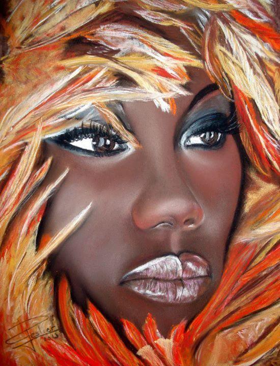 Colorful woman. Black Art.