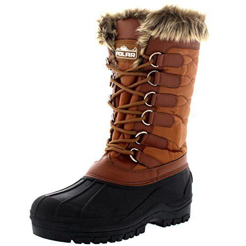 Polar Women Winter Fur Snow Boots Size 7 B M Waterproof Insulated Knee High Lace Boots Snow Boots Boots