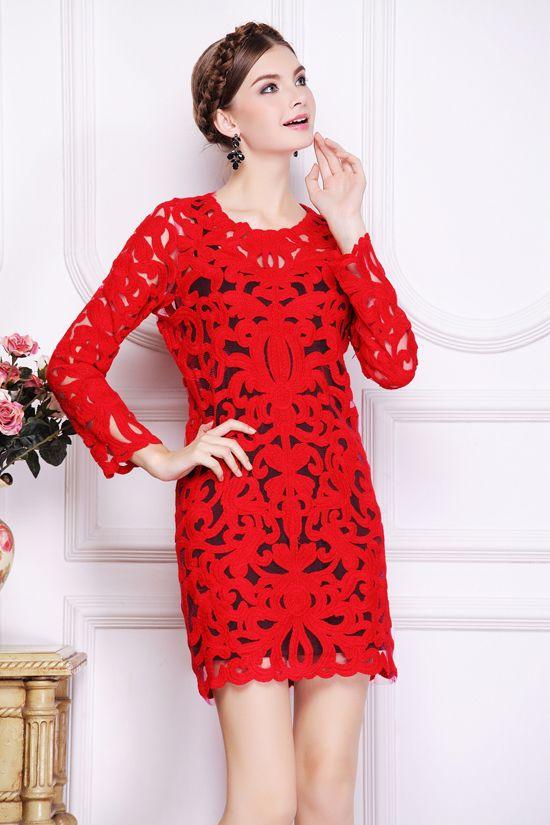 Morpheus Boutique  - Red Hollow Out Round Neck Long Sleeve Hem Dress, CA$133.32 (http://www.morpheusboutique.com/red-hollow-out-round-neck-long-sleeve-hem-dress/)