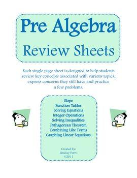 pre algebra review worksheets keys algebra and printables. Black Bedroom Furniture Sets. Home Design Ideas