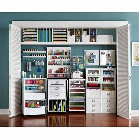 Beautiful Definitely Want To Use The Closet For Storage Like This. Also, Color  Inspiration! /// Recollections Craft Room Storage Cubes And Components At  Michu2026