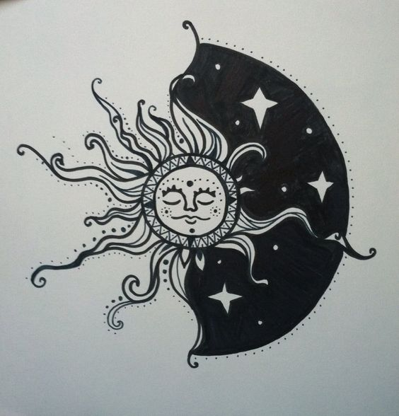 Sun Moon Drawing | Ink | Pinterest | Sun moon, Drawings ...