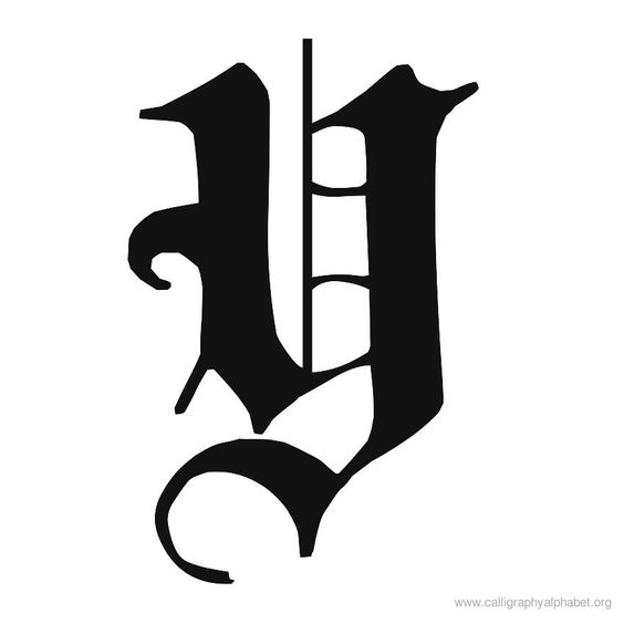 Calligraphy alphabet old english y