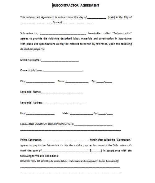 Subcontract Agreement Format Word Template Contract Template Subcontractors