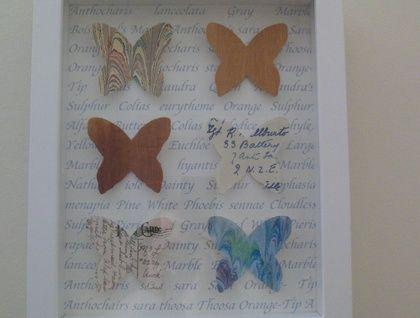 Butterflies Framed Work - Medium Blues by Paperette www.paperette.felt.co.nz