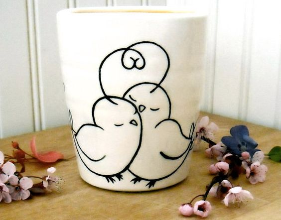 PEEP Bird Cup Vase HandMade Hand Painted Wheel by LoveArtWorks