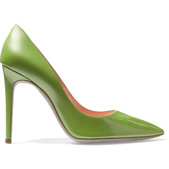 René Caovilla Patent-leather pumps (405 BAM) ❤ liked on Polyvore featuring shoes, pumps, leaf green, green shoes, patent leather pointed toe pumps, pointy-toe pumps, slip on shoes and green high heel shoes