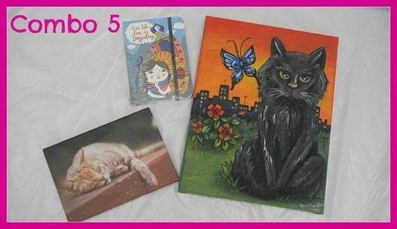 Rifa a beneficio de los gatos del Botánico. Números en venta a $50 escribiendo a botanico.finanzas [@] gmail.com  Mirá los combos que tenemos para los ganadores de la rifa: COMBO NRO 5 : 1 Foto cuadro donado por Kaya & Mozel + 1 cuaderno monoblock + cuadro gatuno pintado a mano